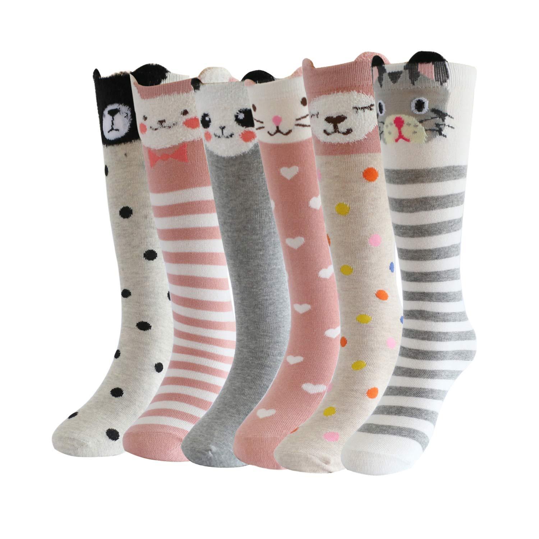 19c7a516fc2 Bestjybt Girls Knee High Socks Baby Toddler Kids Cartoon Animal Cat Bear  Fox Cotton Over Calf