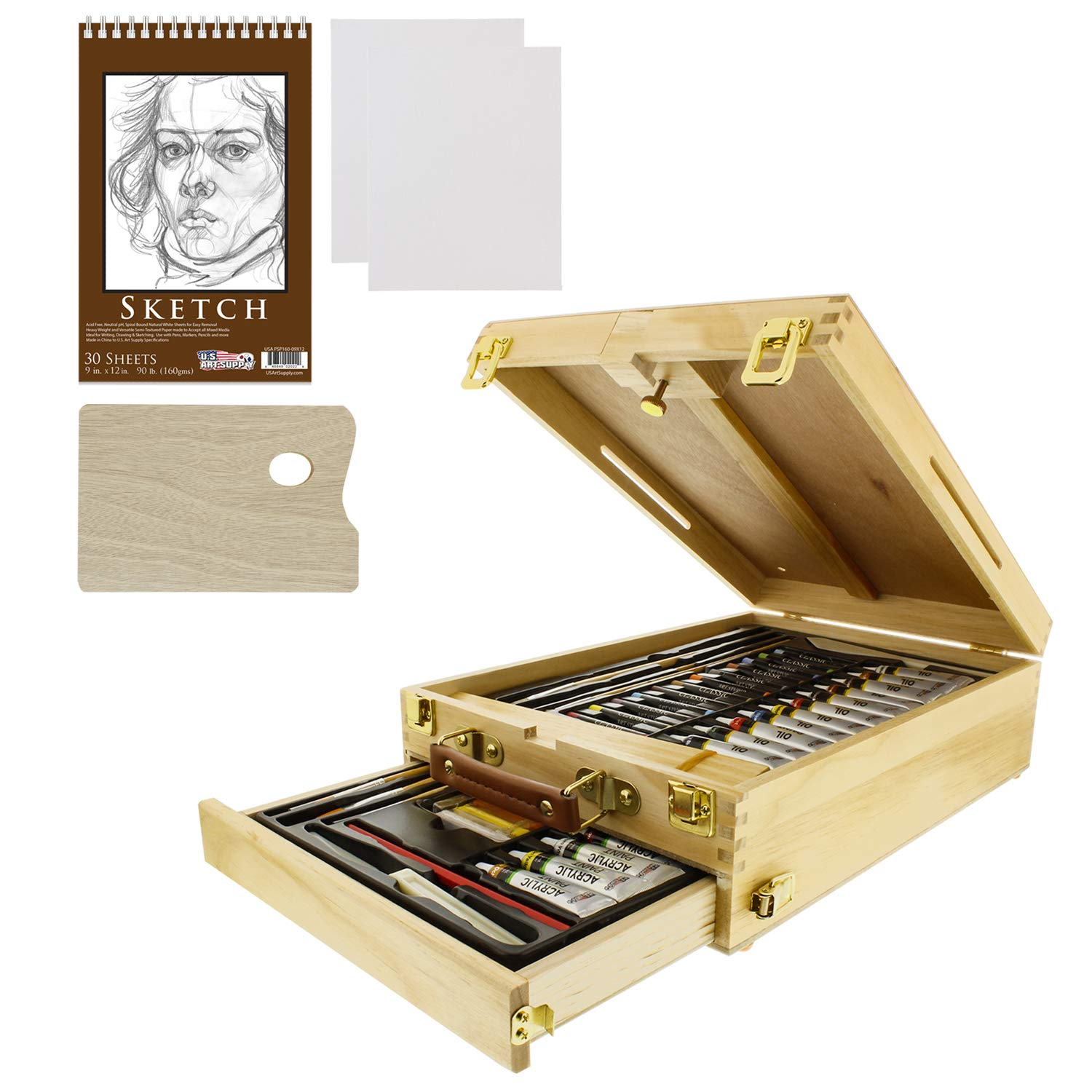 US Art Supply 62-Piece Wood Box Easel Painting Set- Box Easel, Acrylic & Oil Paint Colors, Artist Pastels, Painting Brushes, Wood Palette, Palette Knife, Pencil, Oil Pastels, Canvas Panels, Sketch Pad by US Art Supply