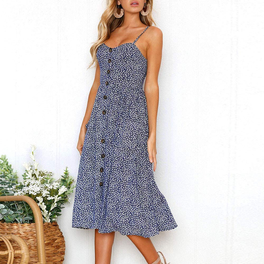 Quealent Womens Dresses Women Summer Floral Bohemian Spaghetti Strap Button Down Swing Midi Dress with Pockets