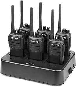 Case of 6,Retevis RT21 Two Way Radios Long Rang, Walkie Talkies for Adults, Hands Free 2 Way Radios for Business with Six-Way Multi Gang Charger