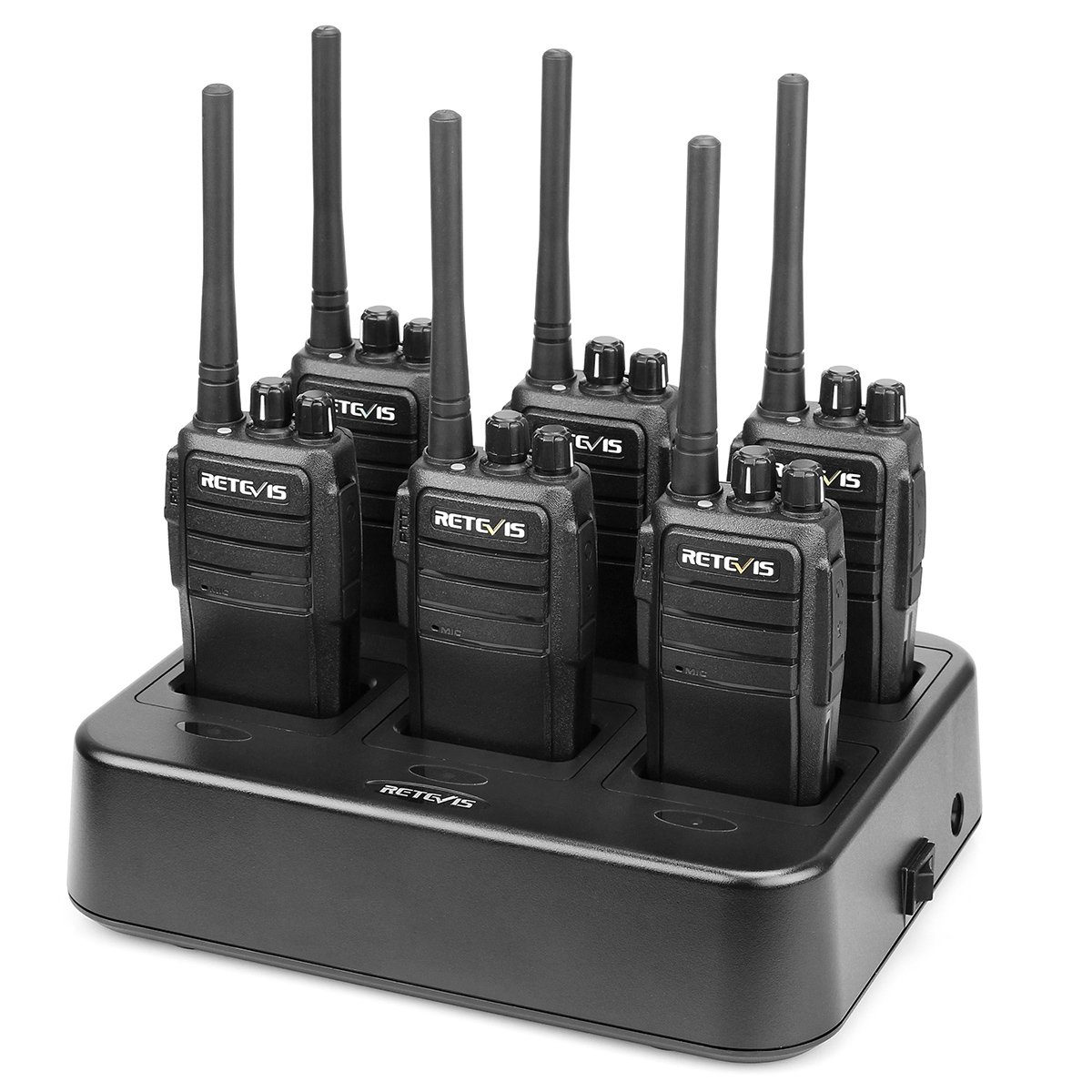 Retevis RT21 Two Way Radios Long Range FRS Walkie Talkies Rechargeable Hands Free 2 Way Radios(6 Pack) with Six-Way Multi Gang Charger