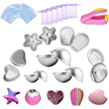Kyerivs Metal Bath Bomb Moulds Large 14 PCS(6 Hemispheres, 2 Starfish, 2 Heart, 2 Shell, 2 Scallop) with 100 Shrink Wrap Bags 6 Gift Bag and 1 Mini Heat Sealer For Bath Bombs Handmade Soaps & Cake