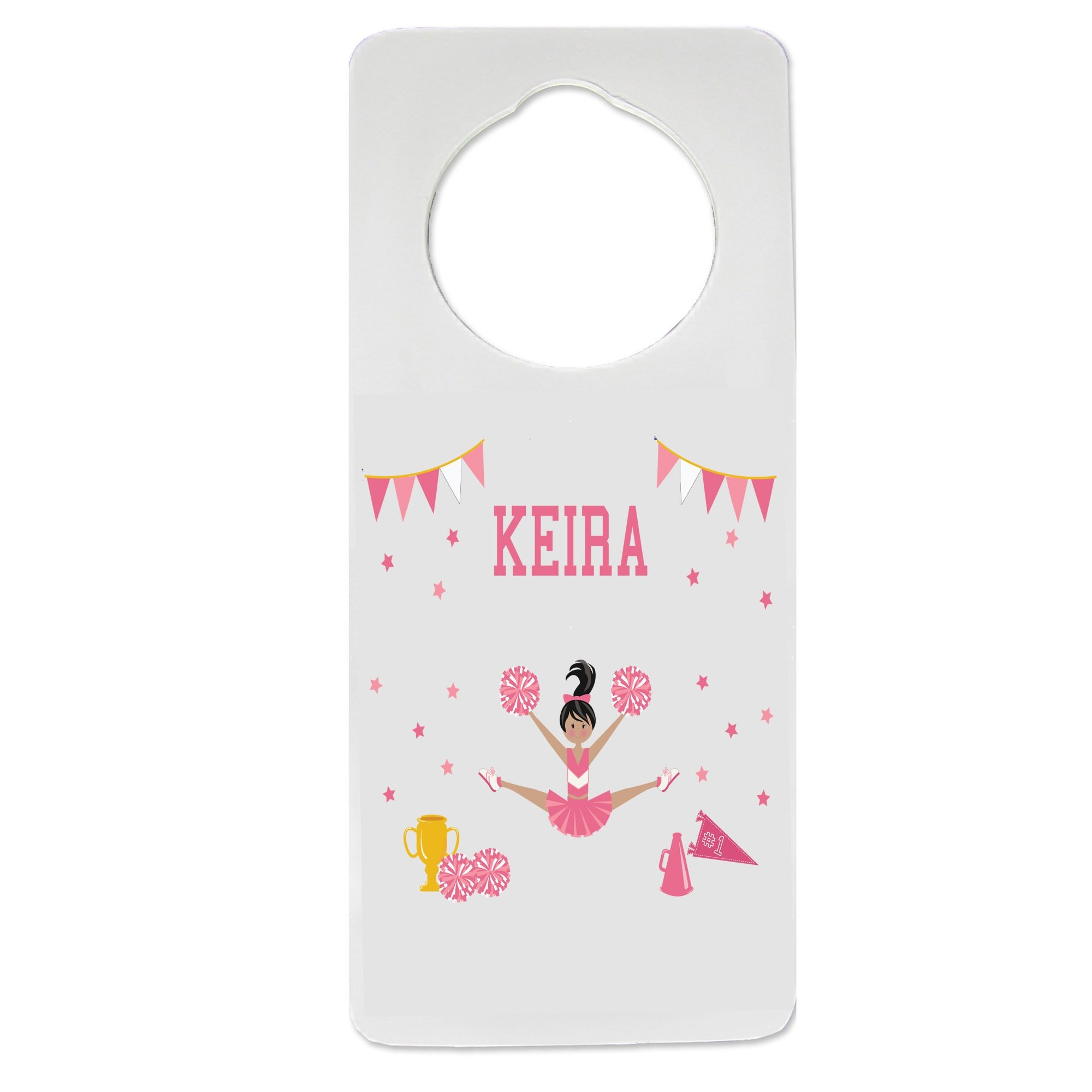 Personalized Cheerleader Black Hair Pink Nursery Door Hanger