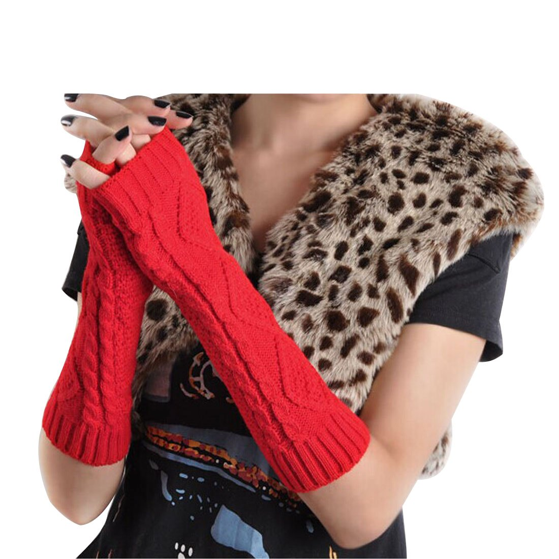 LerBen Women's Knitted Woolen Arm Warmers Long Warm Fingerless Gloves