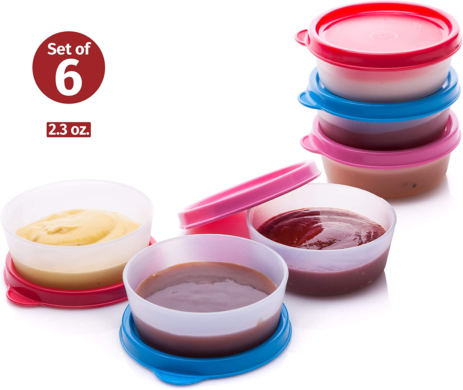 Condiment Cups Containers with Lid 6 pk. 2.3 oz. Salad Dressing Container to go Small Mini Food Storage Containers with Lids Sauce Cups Leak proof Reusable Plastic BPA free for Lunch Box Picnic Travel