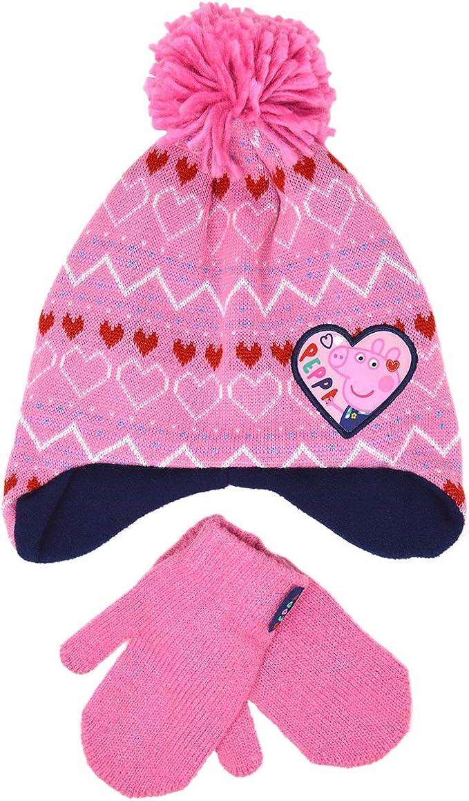 3-6 Years Girls Peppa Pig 2pc Winter Fleese Hat and Mittens Set
