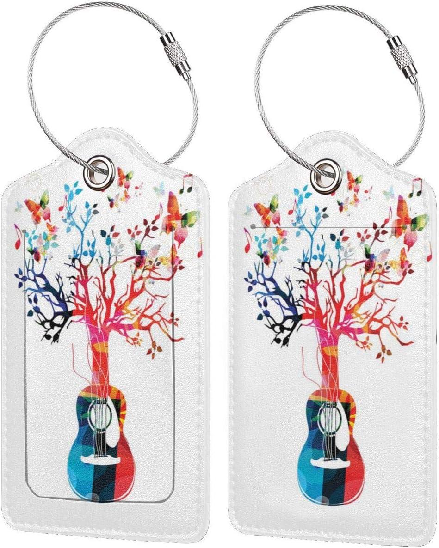 NOLYXICI Etiquetas para Equipaje,Lámina artística Guitar Tree Butterflies,4 Piezas Etiquetas de Equipaje de Viaje Etiquetas de Identificación de la Maleta para Maletas,Mochila