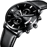 Mens Black Wrist Watches Men Waterproof Chronograph Date Large Face Leather Watch Sport Fashion Watches