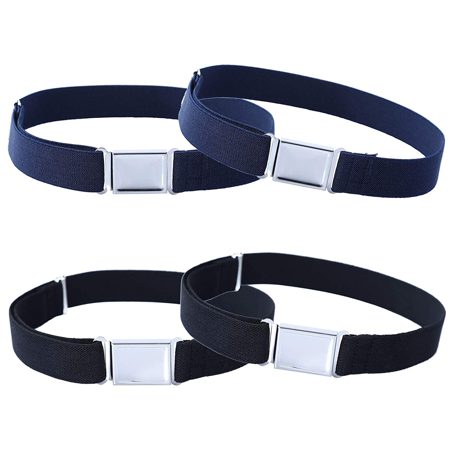 4PCS Kids Boys Adjustable Magnetic Belt - Elastic Belt with Easy Magnetic Buckle (4pcs Navy Blue)