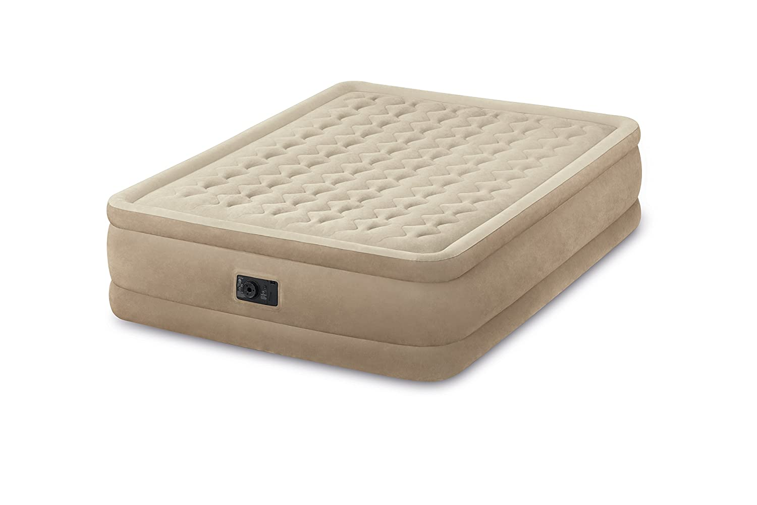 Intex Queen Ultra Plush Fiber-Tech Airbed Air Mattress Bed with Built-In Pump 64457E