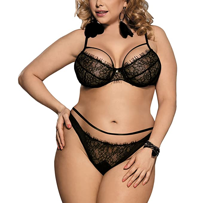 2ecd5fe9242 Amazon.com  Zerolove Bra Set Women s Plus Size Lingerie Outfit ...