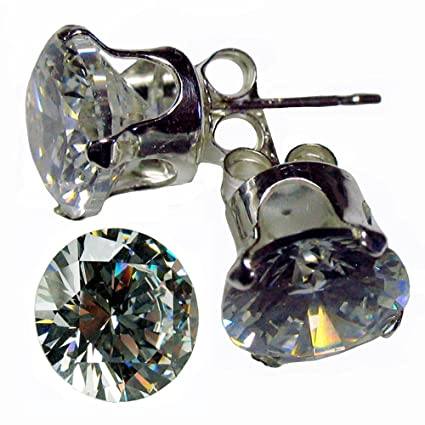 Sterling .925 Silver EARRING with Cubic Zirconia / Clear White CZ stone 3.00 MM , 0.10 CT Diamond Weight . Total 0.20 CT CZ Earring . Also FREE FREE FREE 6.50 MM / 1.0 CT Diamond Weight Round shape Cubic Zirconia (TOTAL item is 1 pr Silver Earring + 1 pc CZ Stone)