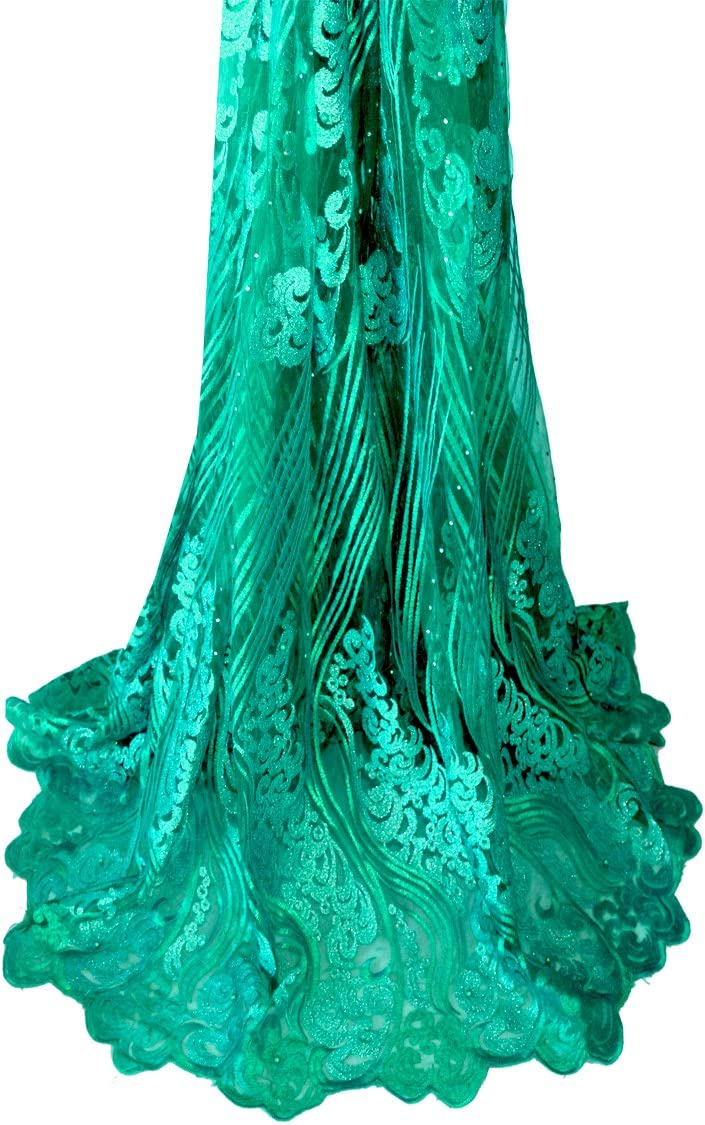 Green Fongbay 5 Yards African Lacey 2018 Bridal Latest Fabrics Embroidered and Rhinestones Guipure Cord Lace Wedding Evening Dress