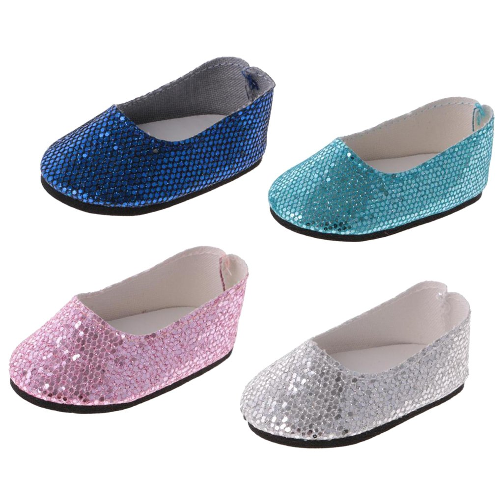 MonkeyJack Pack of 4 Pairs Adorable Sequins Flat Shoes for 14'' American Girl Wellie Wisher Dolls Dress Up ACCS