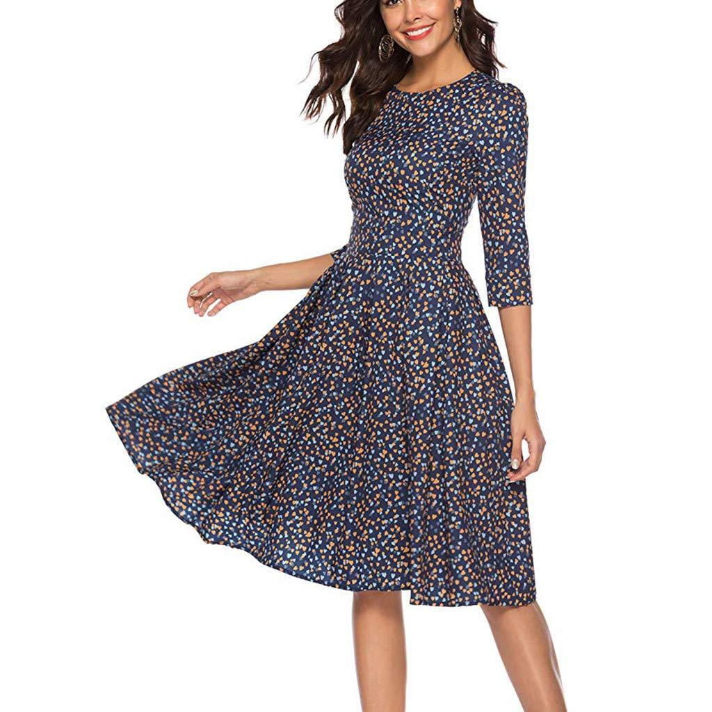 Women's A-Line Mini Skirts Three Quarter Sleeve Floral Vintage Dress Elegant Evening Party Short Dress (M, Navy)