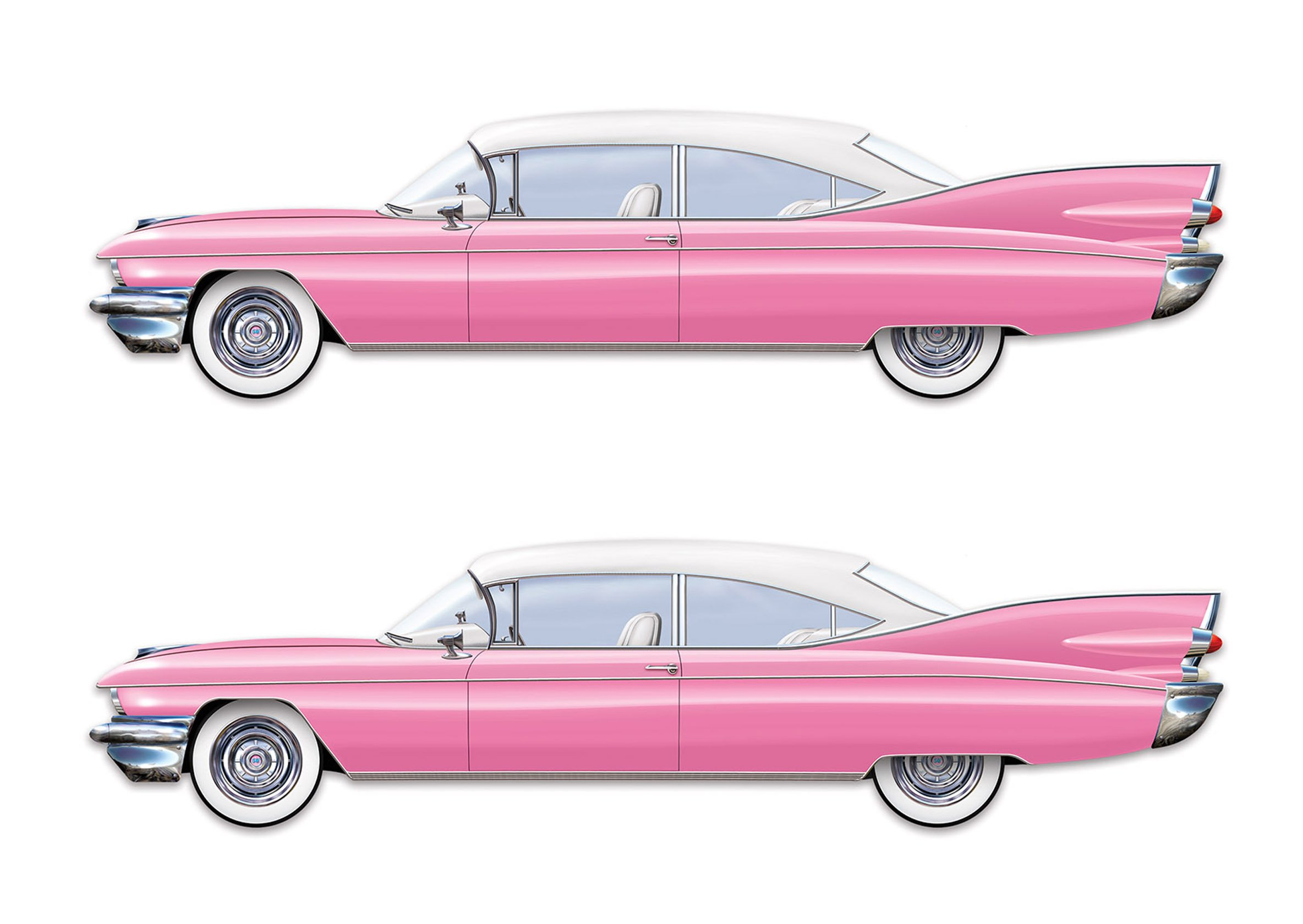 Beistle S54216AZ2, 2 Piece Jointed 50's Cruisin Cars, 6' by Beistle