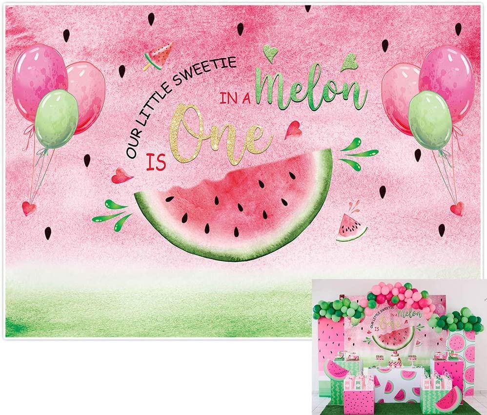 Allenjoy Watermelon Summer 1st Birthday Backdrop Sweetie One in a Melon Baby First Bday Table Decor Party Banner Newborn Portrait Photography Girls Balloon Photoshoot Background 7x5ft Photo Booth Prop