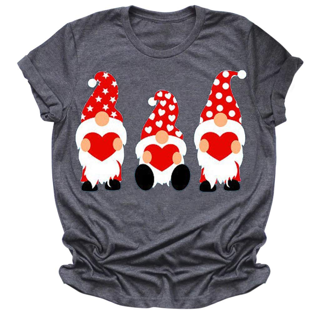 Viviplus Womens Short Sleeve Tops Valentines Day Gnome Print T-Shirt Blouses Plus Size O-Neck Shirts Pullover Tunic Tees