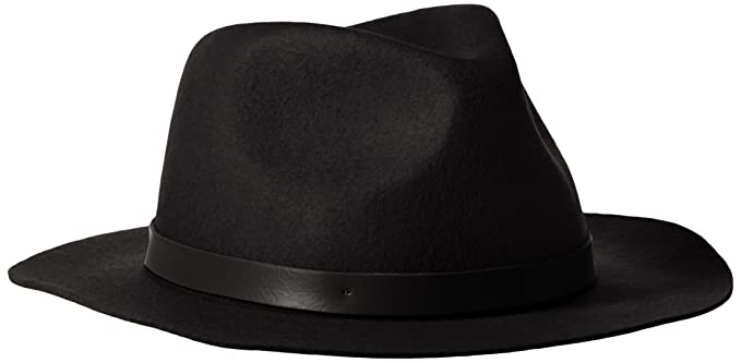 d6edaf96 Phenix Cashmere Women's Short Brim Wool Felt Fedora Hat, Black, One Size