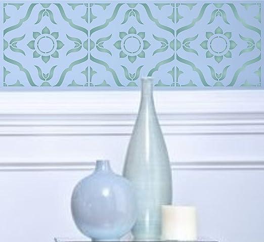 L 30 x 30cm 4 Tile - Reusable Large Talavera Moroccan Turkish Italian Floor Wall Tile Allover Pattern Stencil Template Mexican Tile Stencil