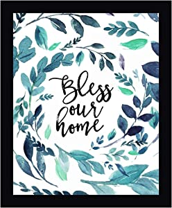 """Bless Our Home by Tara Moss - 17"""" x 20"""" Black Framed Canvas Art Print - Ready to Hang"""