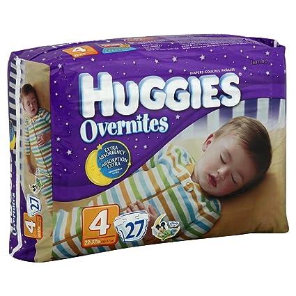 Huggies overnites pañales tamaño 4 (22 – 37 libras) Jumbo pack, 27 Pañales. Pasa el ratón por encima de ...