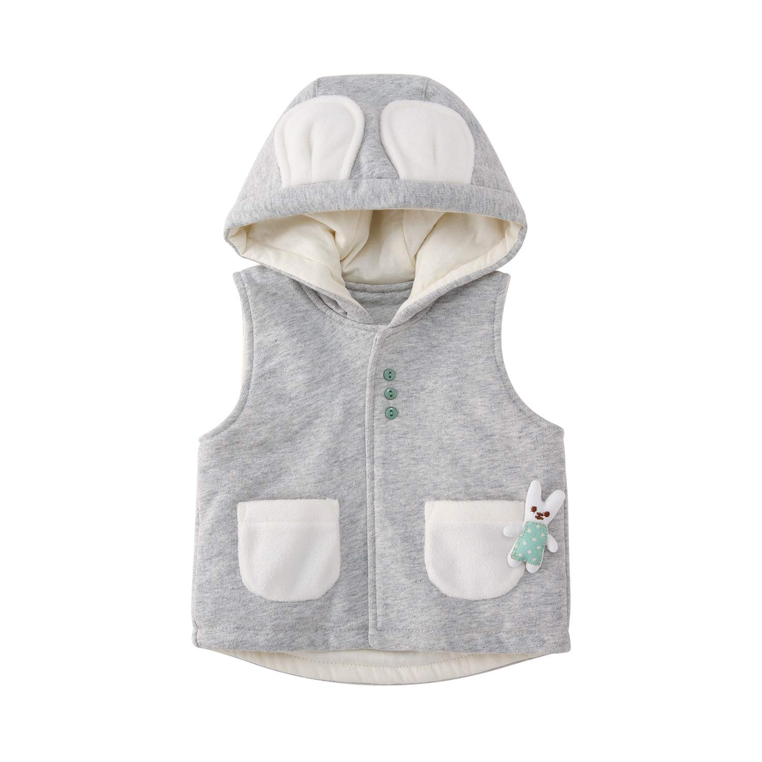 pureborn Baby Girls Boys Hooded Jacket Vests Cute Infant Toddler Cotton Waistcoat