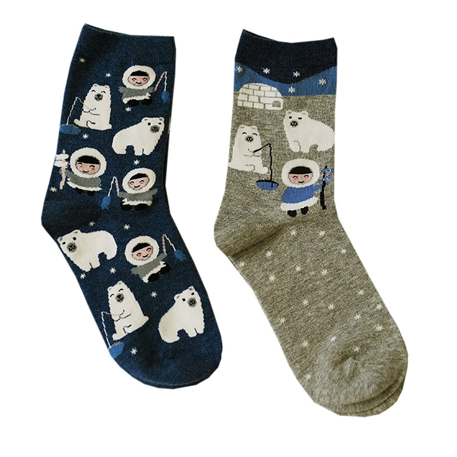 2 Pairs of Teen Girl Polar Cute Bear Cartoon Harajuku kawaii cotton socks