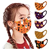 5 PC Halloween Reusable Vintage Unisex Kids Face Bandanas Washable Breathable Seamless Cute Print Child School Supplies