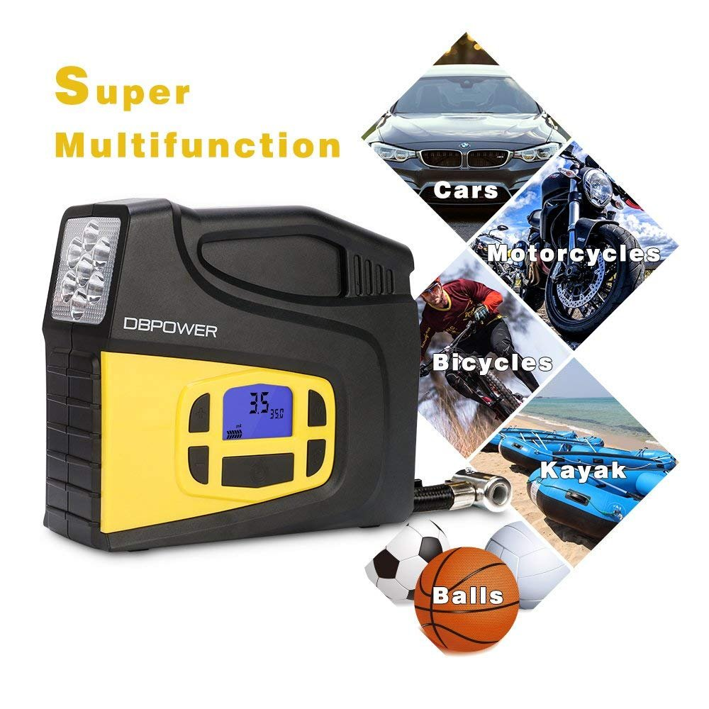 DBPOWER Portable 12V DC Tire Inflator, Digital LCD Display Air Compressor Pump for Cars, Bicycles and Balls with 3 Modes Function LED Lighting by DBPOWER (Image #4)