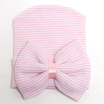 Amazon.com  Newborn Hospital Hat Pink and White Striped with Pink Bow  Baby 07ab28b5de7