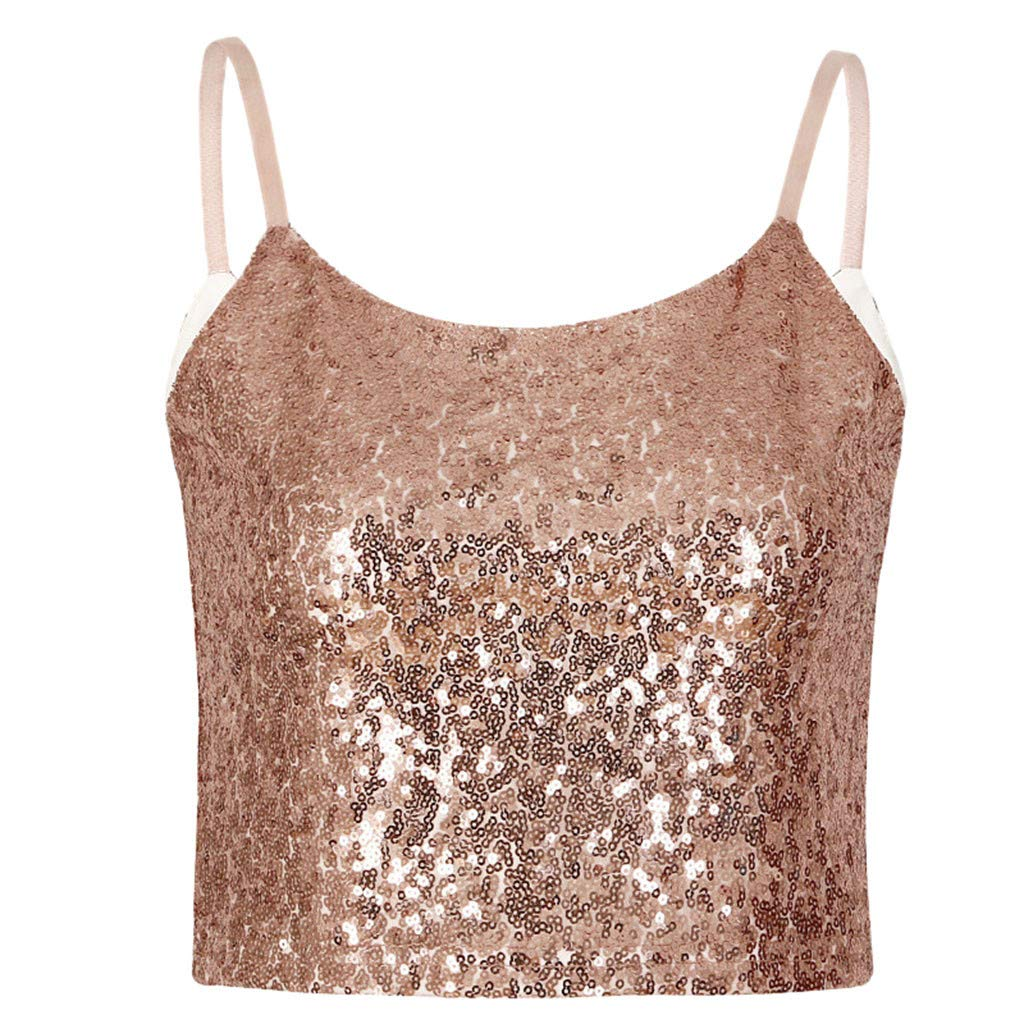 Keliay Womens Tops for Summer,Women's Sexy Sequined Metal Vest Night Shop Suspender Shirt Fashion Top Blouse Gold