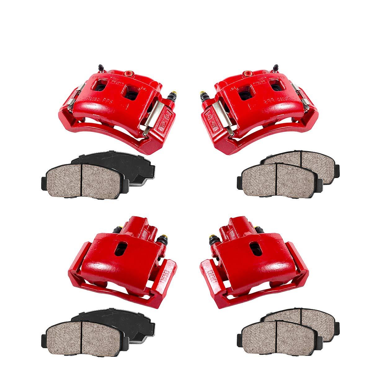REAR 4 FRONT Ceramic Brake Pads Kit Performance Grade Semi-Loaded Powder Coated Red Caliper