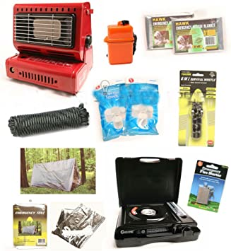 Emergency Survival Kit Camping Gear Tent Butane Stove Heater Doomsday Prep Tools