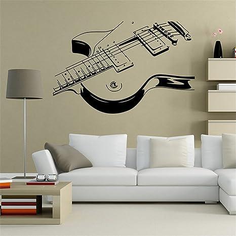 lanue guitarra eléctrica adhesivo decorativo para pared vinilo decorativo para extraíble resistente al agua papel pintado