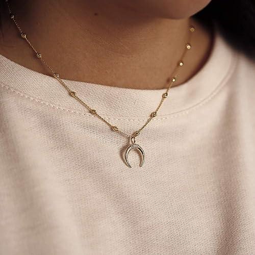 a74952eac6b96 Amazon.com: 14K Solid Gold Double Horn Diamond Necklace Horn Charm ...