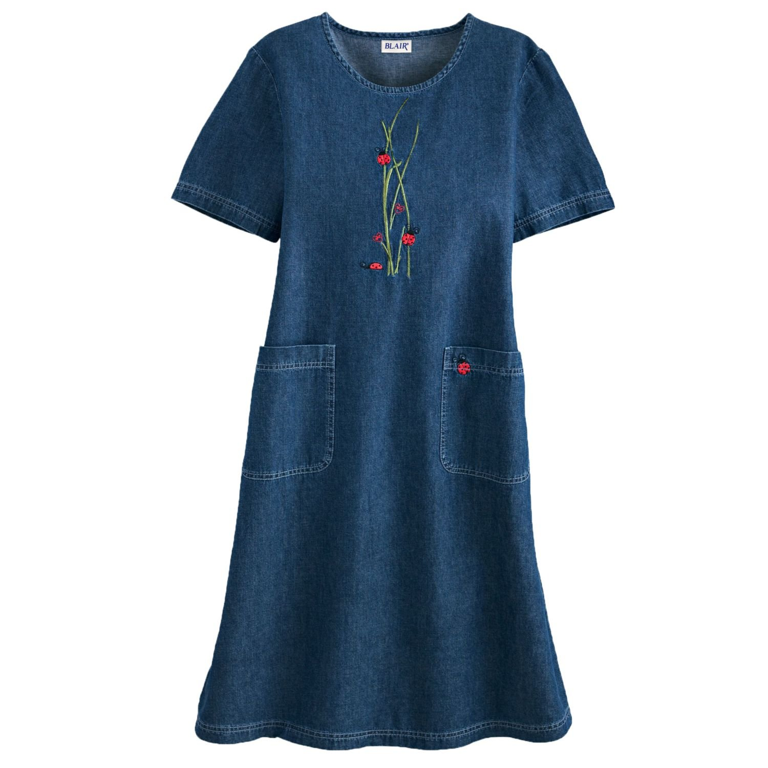 11d58552c4b72 Blair Women s Plus Size Embroidered Denim Dress - 3XL Ladybug at Amazon Women s  Clothing store