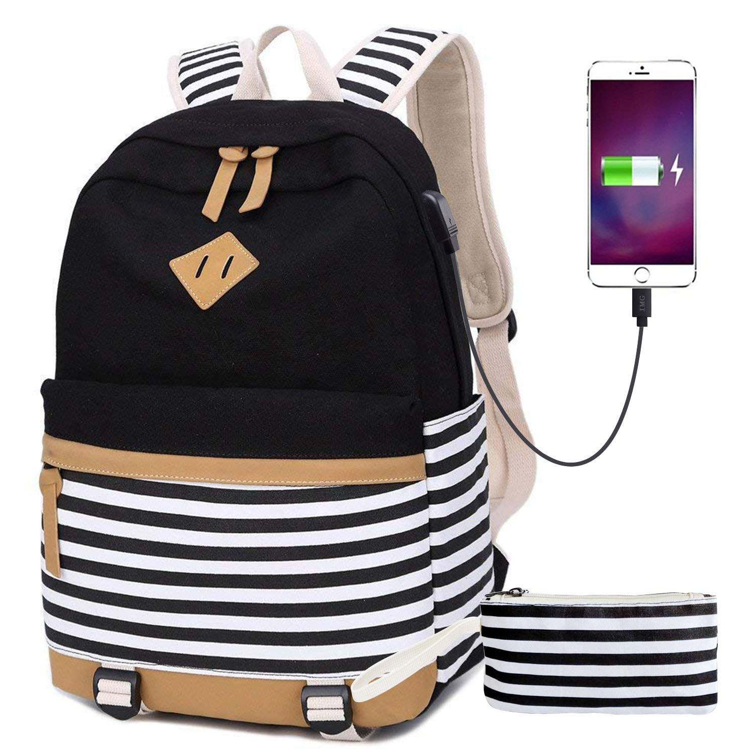 Canvas Student Backpack,USB Backpack,Girls Casual School Bookbag with Pencil case,USB Charging Port,College Laptop Backpacks for Men/Women,Teen Boys/Girls.(Black Strips)