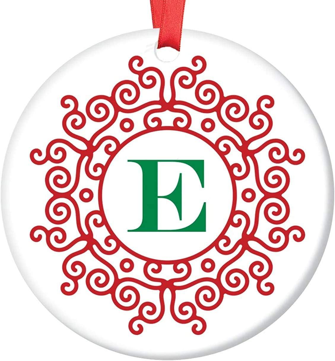 JamirtyRoy1 - Adorno navideño para Abuelos (cerámica, diseño de Letra E, Nombre Inicial, Maestro, Oficina, Jefe, Primer Nombre, Apellido, Monograma, Regalo de Boda
