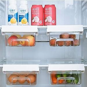 JVtech Refrigerator Organizer Bin, Fridge Drawer Organizer with Handle, Refrigerator Shelf Holder Pull-out Storage Box, Clear Container for Food, Drinks, Egg