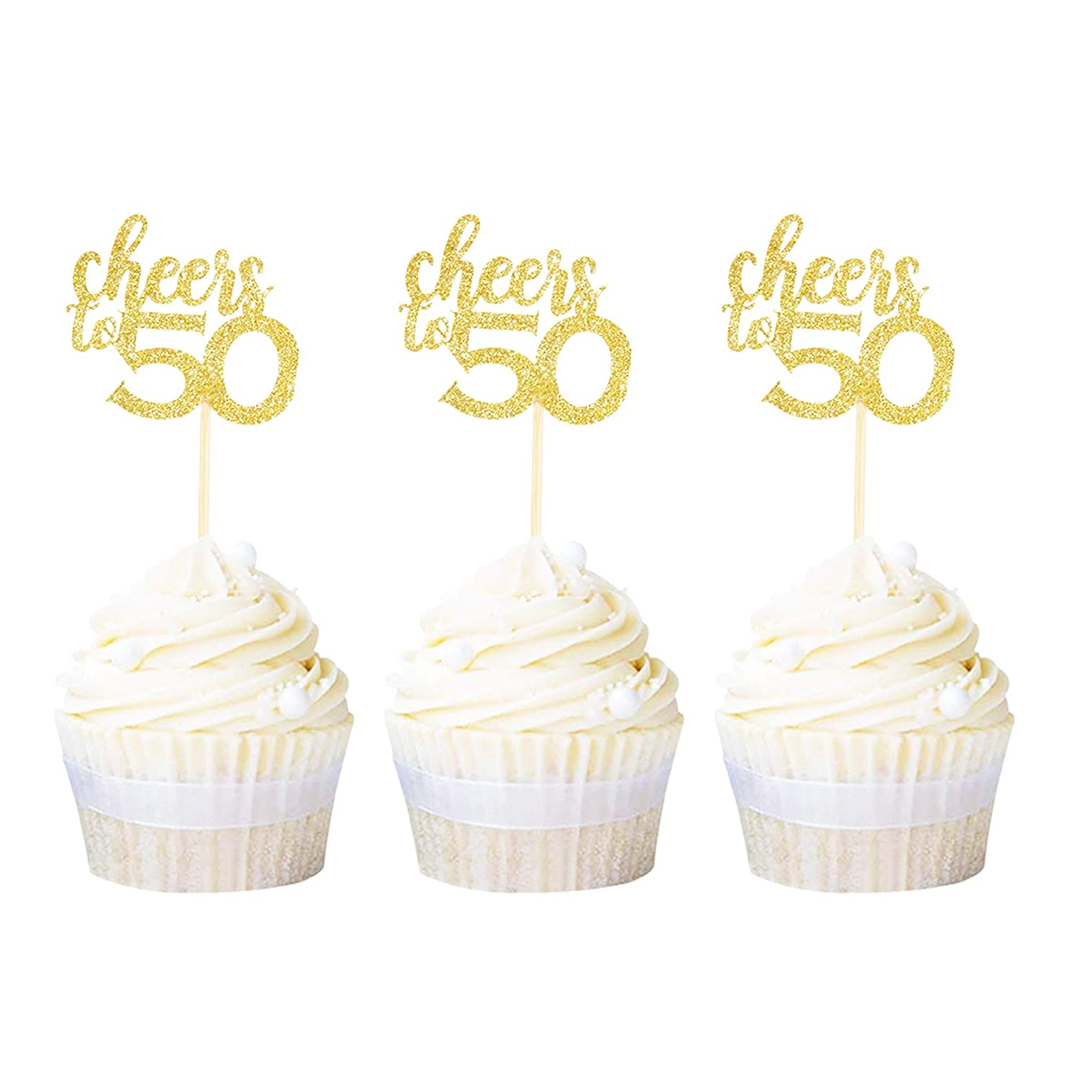 Ercadio 24 Pack Cheers to 50 Cupcake Toppers Gold Glitter Age Fifty 50th Birthday Cupcake Picks Anniversary Party Cake Decors
