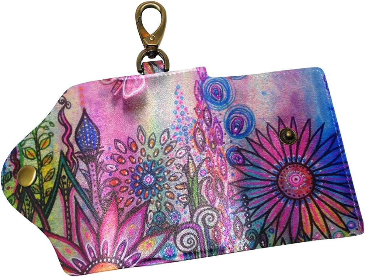 KEAKIA Floral Paintings Leather Key Case Wallets Tri-fold Key Holder Keychains with 6 Hooks 2 Slot Snap Closure for Men Women