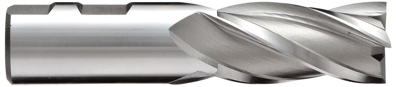 Weldon Shank 4 Flutes Square Nose End Mill Uncoated 0.375 Cutting Diameter HSS YG-1 E9985 High Speed Steel 0.375 Shank Diameter Bright 30 Deg Helix Finish 2.5 Overall Length