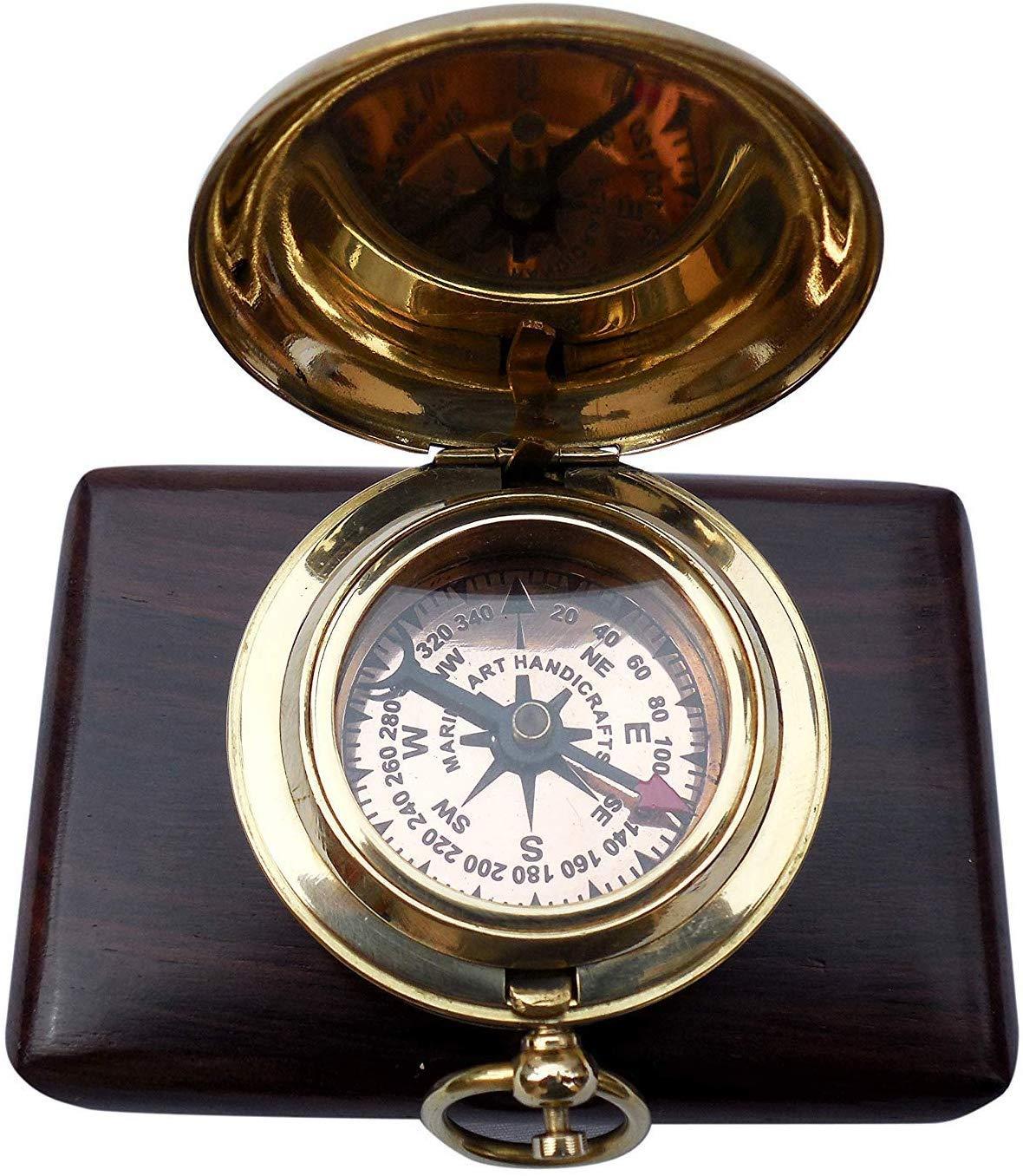 MAH Handmade Brass Push Button Engravable Direction Pocket Compass. C-3191 by MAH