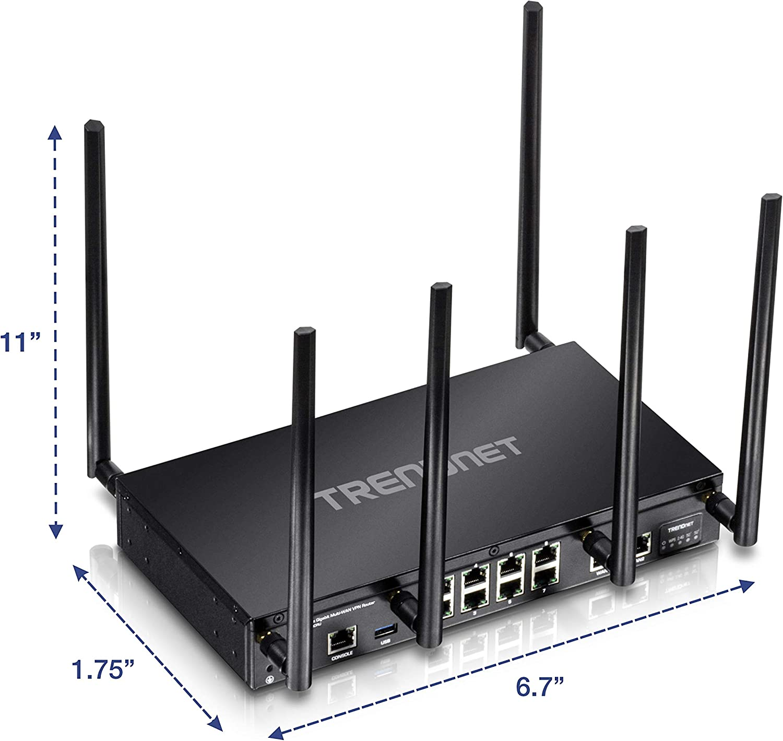 Wave 2,Internet Router,Whole Office//Home wifi,Pre-Encryped Wireless,QoS,Inter-VLAN routing black TRENDnet AC3000 Tri-Band Wireless Gigabit Dual-WAN VPN SMB Router,TEW-829DRU,MU-MIMO