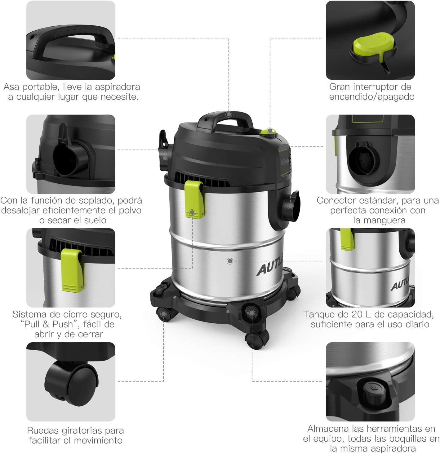 AUTLEAD Aspirador Seco Húmedo, 1000W 20 L Aspirador de usos múltiples de Acero Inoxidable, Aspirador doméstico con función de soplado, Silenciador: Amazon.es: Bricolaje y herramientas
