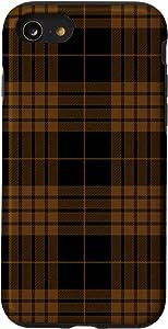 iPhone SE (2020) / 7 / 8 Black & Brown Plaid Decor Pattern Fall Winter Case