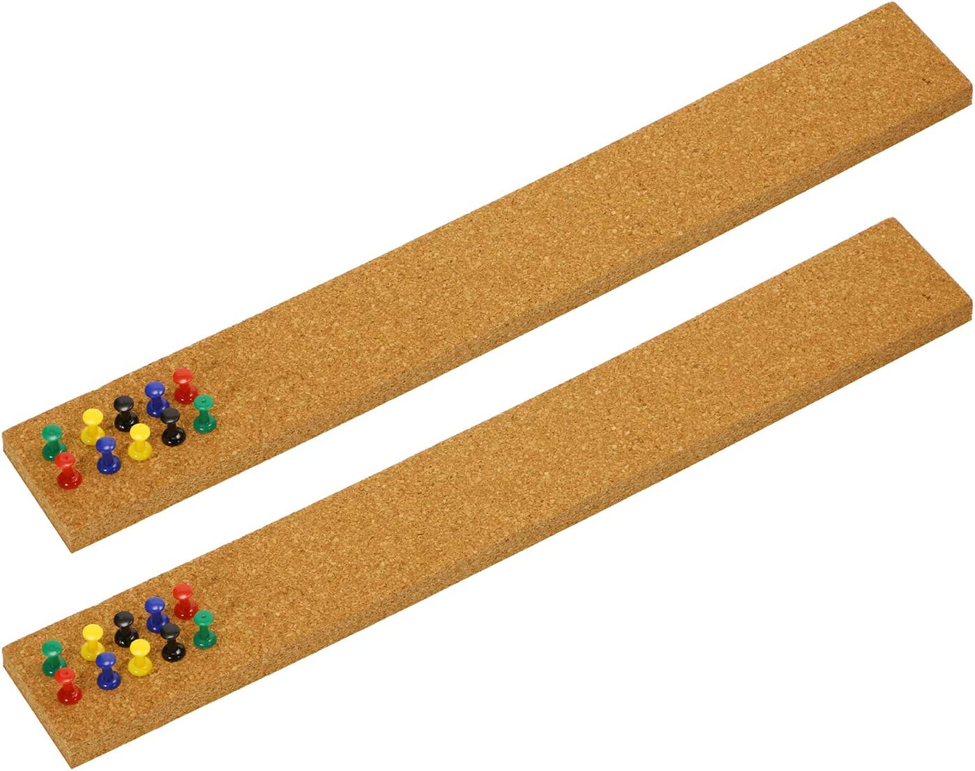 """Tupalizy 2PCS Cork Boards for Walls 14.96"""" x 1.97"""" Adhesive Strips Thick Bulletin Board Bars with 20PCS Push Pins for Hanging Notes Fridge Small Space Home Decor Office School Classroom Household Use"""