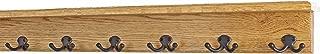 "product image for Oak Shelf Coat Rack with Aged Bronze Double Style Hooks (Golden Oak, 31"" with 6 hooks)"