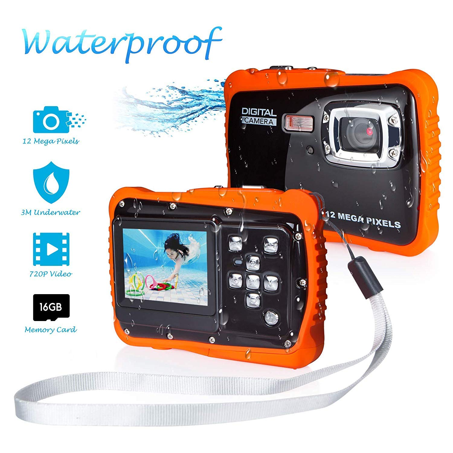 Waterproof Camera for Kids, FLAGPOWER Kids Waterproof Camera for Boys and Girls, 12MP HD Action Sport Camcorder with 2.0 Inch LCD Display 4X Digital Zoom 5MP CMOS Sensor 16G Memory Card Flash by FLAGPOWER
